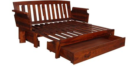 aryabhatta solid wood storage wooden sofa cum bed by