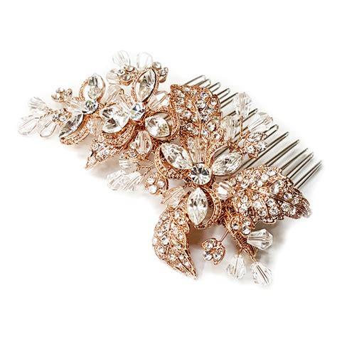 Flower Hair Cl gold clear rhinestone flower hair comb 8111