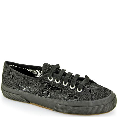 black sneakers superga lace sneaker in black lyst