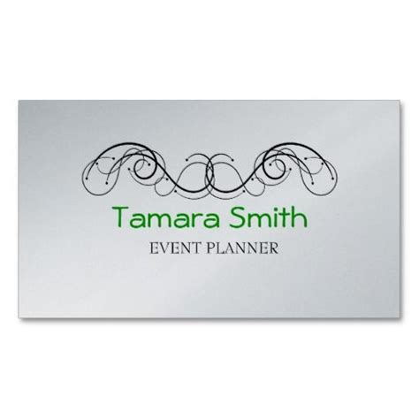 Event Management Business Card Template by Green Black And Platinum Event Planner Business