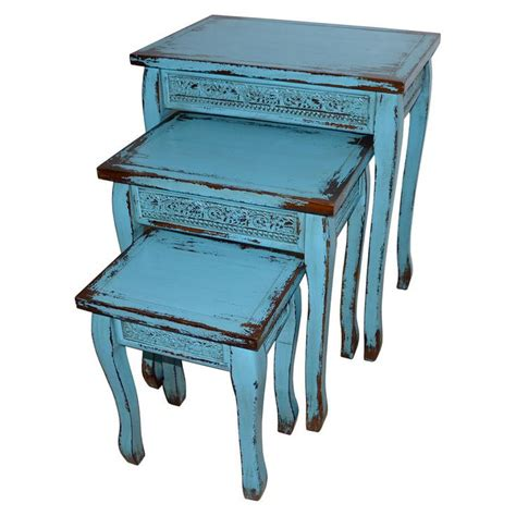 Decor With Accent Turquoise Blue Wooden Distressed Side Accent Table Large