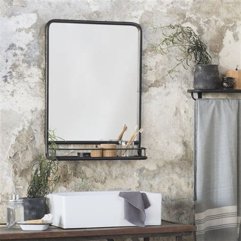 large bathroom mirror with shelf large black distressed industrial mirror with shelf pre