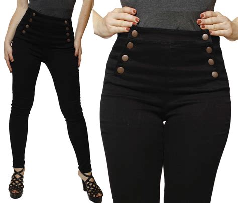 high waist jeans pants black front button double breasted high waisted waist