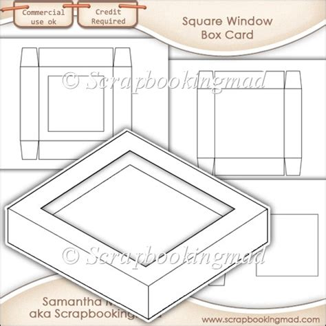 free shadow box card template window box card square window template commercial use ok