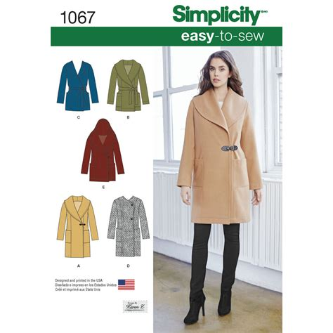 coat pattern pattern for misses easy to sew jacket or coat simplicity