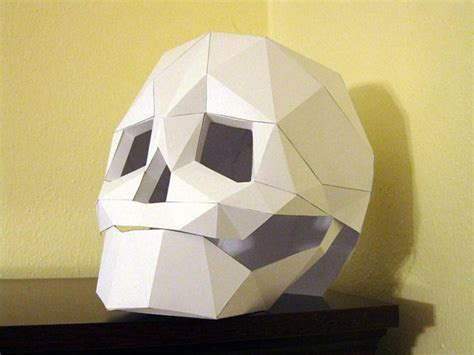 skull mask with moving mouth low poly mask pattern uses