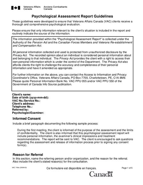 Psychological Evaluation Report Template
