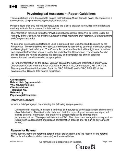 Psychiatric Report Template psychological assessment report