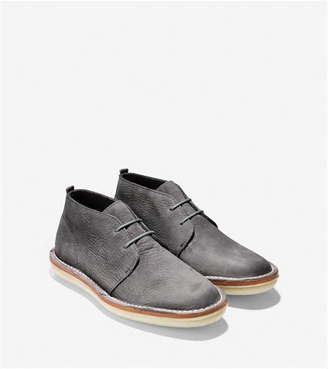 cole haan lewis suede chukka boots in gray for magnet