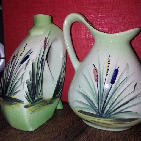 floreros de ceramica 2 jarrones o floreros de ceramica pintados a mano 520