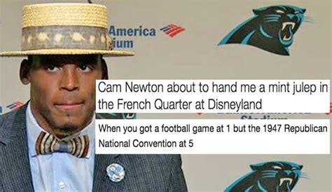 Cam Meme - cam newton s post game hat choice becomes instant meme