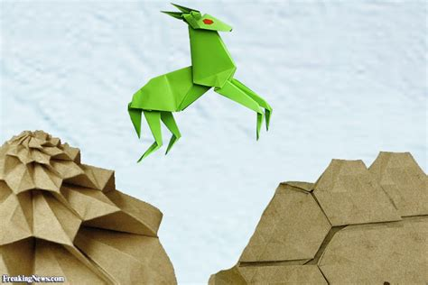 Origami Mountain - origami goat jumping on a mountain pictures