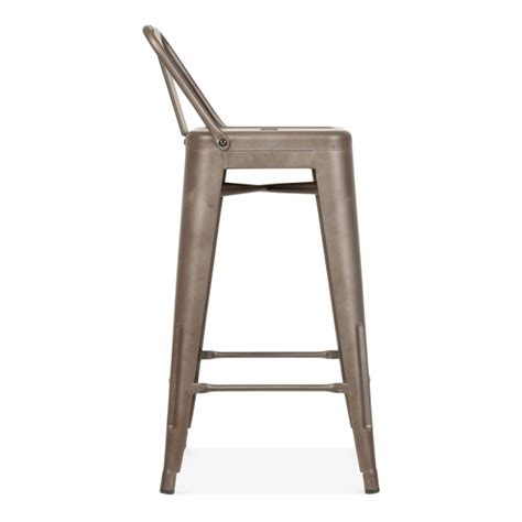 bar stool with back rest tolix style metal bar stool with low back rest rustic 65cm