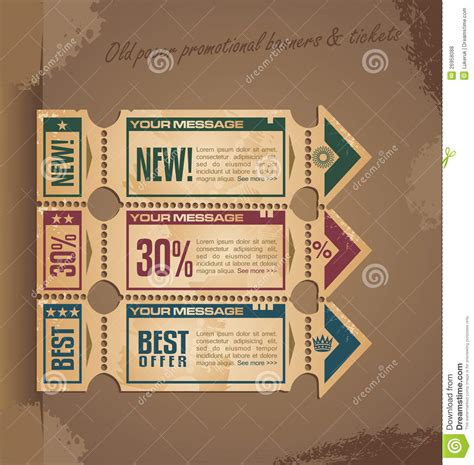 old paper vintage banner design with tickets royalty free