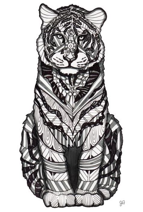 tiger art print awesome tigers and zentangle