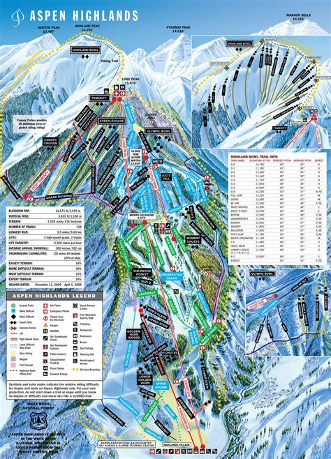 aspen colorado trail map aspen highlands ski trail map aspen colorado united