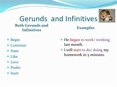 gerund or infinitive do to do doing page 3 of 4 gerunds and infinitives after certain verbs