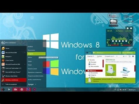 windows 8 theme for windows 7 youtube tema theme estilo metro windows 8 red green elegante para