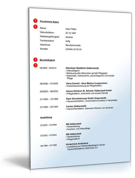 Lebenslauf Vorlage Zum Ausfüllen Und Drucken Lebenslauf Pflegehelfer Muster Zum