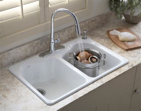 Photos Of Kitchen Sinks Kohler K 5818 4 0 Hartland Self Kitchen Sink With Four Faucet Drilling White