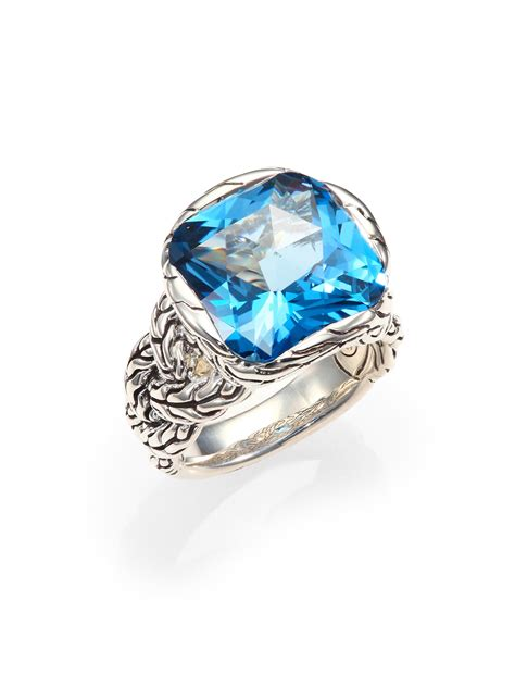 Batu Blue Topaz I231 hardy classic chain blue topaz sterling silver braided ring in blue lyst