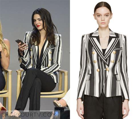 Blazer Wanita Zoe Stripe Black kuwtk season 11 episode 8 kendall s black white striped blazer shop your tv