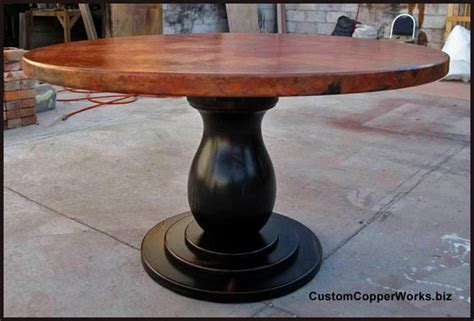 Copper Dining Table Wood Pedestal Table Base 1 12