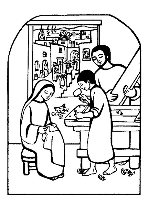 coloring pages of jesus in nazareth carpenter s shop nazareth jesus caritas