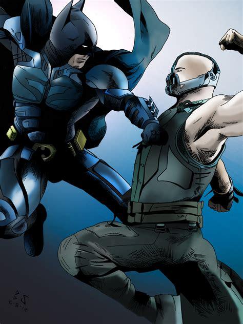 wallpaper batman vs bane batman vs bane color by whitekidz on deviantart