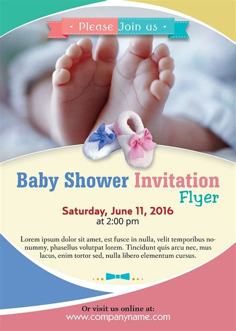 baby shower flyer template photoshop version free