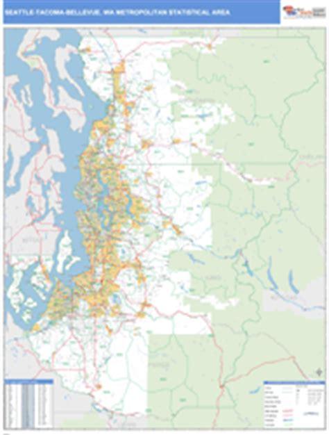 zip code map everett wa seattle tacoma bellevue wa metro area wall map basic