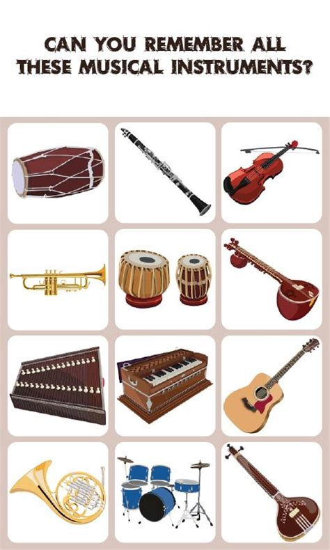 7 Instruments Id To Learn by Musical Instrument Match Memory Is A Concentration