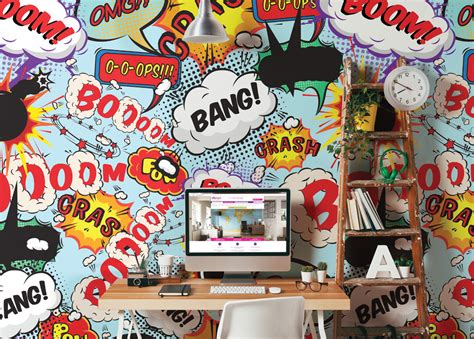 comic wall mural comic explosion pop style writing wall mural