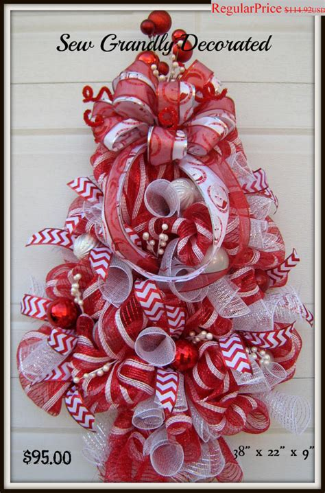 final christmas sale red and white deco mesh christmas