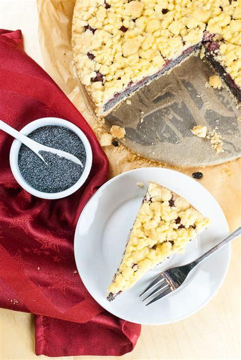 kirsch mohn kuchen kirsch mohn kuchen mit streuseln vegan kaffee cupcakes