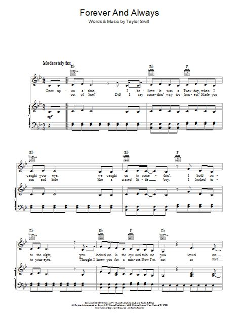 taylor swift delicate lyrics and chords forever and always sheet music direct