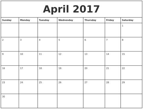 printable calendar 2017 monthly april 2017 printable monthly calendar