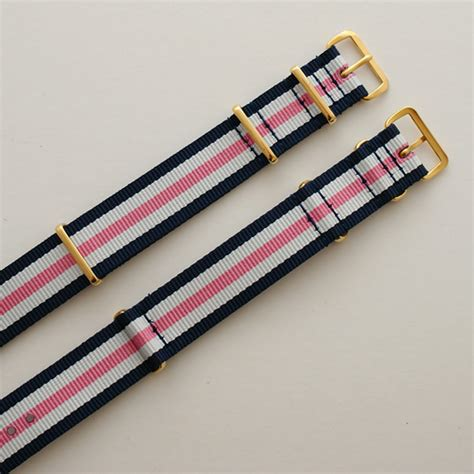Nato 2 Navy 2 Purple Buckle Gold navy blue white and pink stripe nato with gold buckle heat sealed 18mm or 20mm