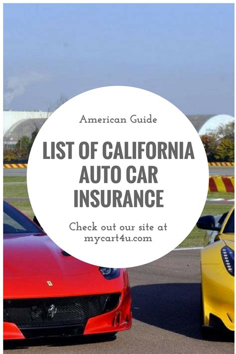 Cheap Car Insurance List by List Of Auto Car Insurance Companies In California Guide