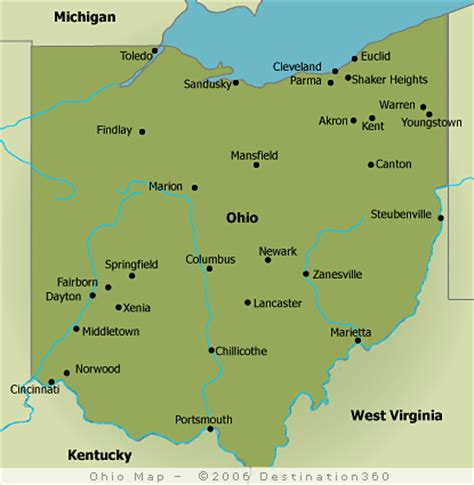 map of ohio rivers and cities map of ohio cities