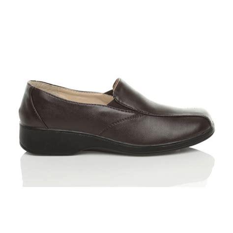 womens comfort low heel wedge slip on work loafers