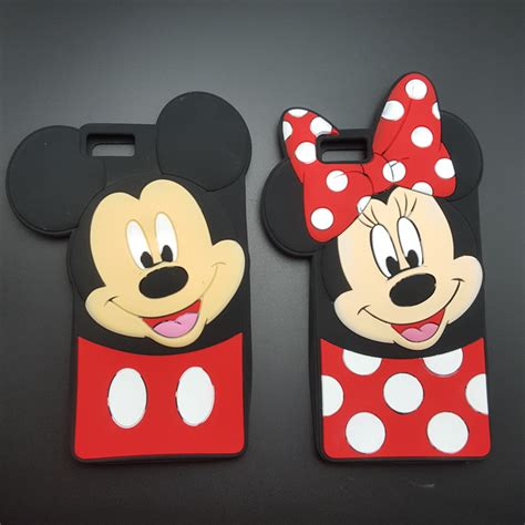 Cetakan Silicone Mickey Minnie 3d mickey minnie mouse bow knot soft silicone for huawei p8 p8 lite p8lite fundas