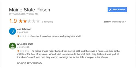 review us on google funny google reviews of prisons and some not so funny