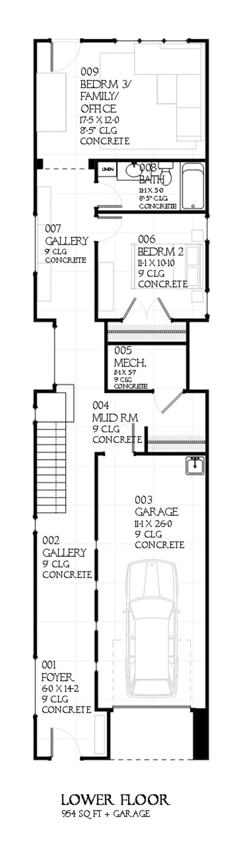long narrow house plans cottage style house plan 3 beds 2 00 baths 2024 sq ft