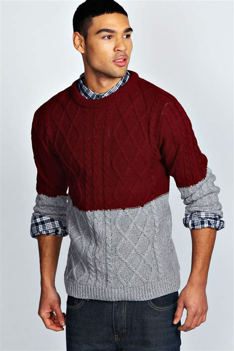 Things X Topman Two Tone Sleeve Item boohoo mens sleeve two tone cable knit jumper ebay