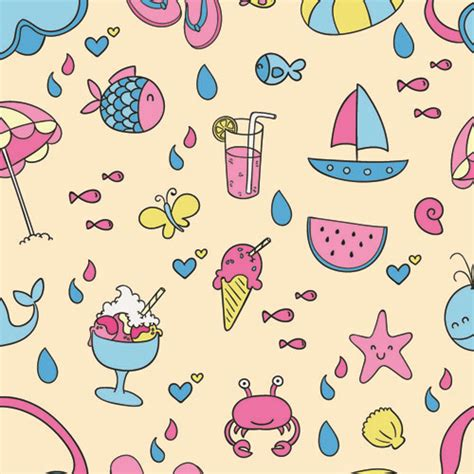pattern cute illustrator cute summer pattern seamless vector free vector in adobe
