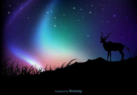 Moving Blue Deer Moving Blue northern lights background vector free vector