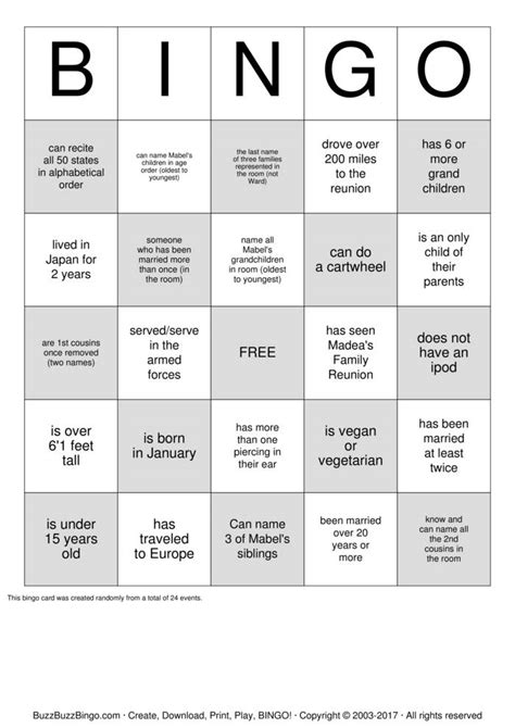 family bingo card template ward family reunion bingo cards to print and
