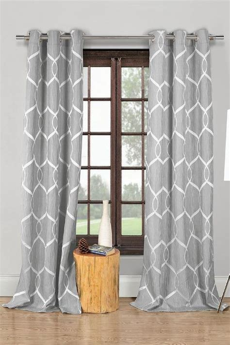 White Curtains With Gray Pattern Gray Printed Curtains Curtain Menzilperde Net