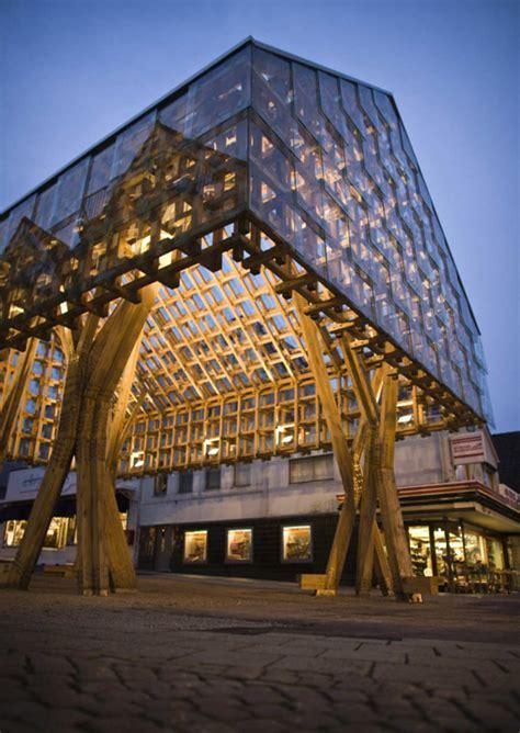 design house oslo lighting lantern pavilion in norway acts as avant garde wood